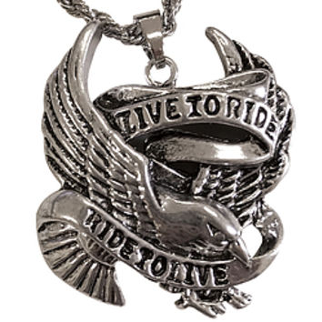 Live To Ride Eagle Necklace