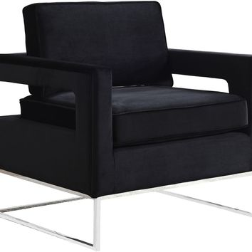 Noah Black Velvet Accent Chair