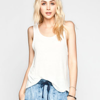H.I.P. Hachi Knit Womens Deep Scoop Tank Cream  In Sizes