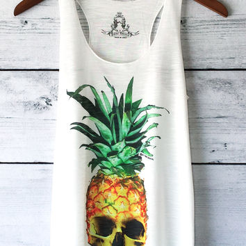 Pineapple Skull Graphic Tank Top in White