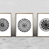 Abstract Wall Art Circle Watercolor Prints Set of 3 Black and White Home Decor Minimalist Mandala Scandinavian art Printable Posters Boho