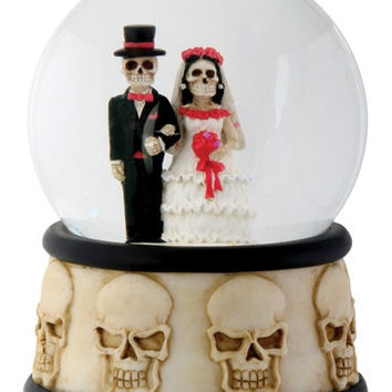 Day of the Dead Wedding Couple Water Globe 3.5H
