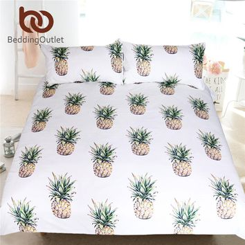 BeddingOutlet 3d Pineapple Bedding Set Tropical Fruit Print Bedspreads Kids Bed Set Single 3 Pcs Duvet Cover Twin Queen King