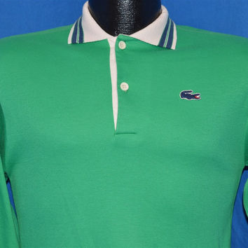 80s Izod Lacoste Green Long Sleeved Polo Shirt Youth Extra Large