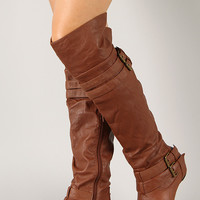 Pacific-1 Buckle Round Toe Thigh High Wedge Boot