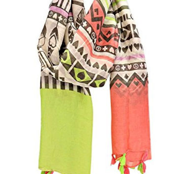 """Rosemarie Collections Women's Scarf Tassel Fringe Lime Pink """"Aztec Peace and Love"""""""