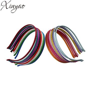 5pcs/lot Satin Ribbon Covered Hairbands Hair Jewelry Making DIY Material For Girls Baby Women Hand Band F1847