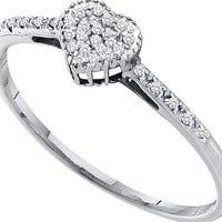 Diamond Fashion Heart Ring in 10k White Gold 0.07 ctw