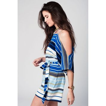 Blue striped romper with shoulder straps and cold shoulders