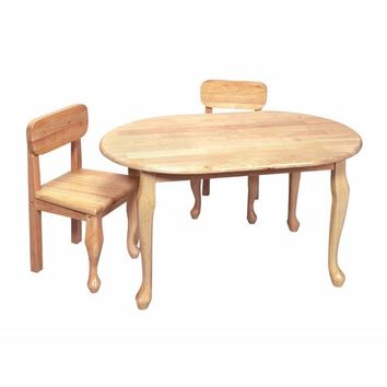 Gift Mark 3002N Oval Queen Anne Table and Two Chair Set - Natural