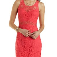 Cut-Out Bodycon Lace Dress by Charlotte Russe