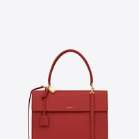 MEDIUM Moujik Saint Laurent Top Handle Bag in Lipstick Red Leather