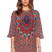 Printed Plus Size Half Sleeves Dress