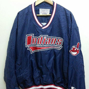 Vintage 1990s Indians Embroidered Starter Sweater Jumper Pull Over Jacket