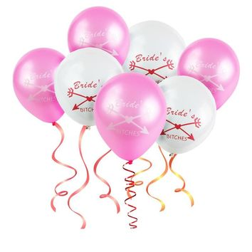 Hot! 50pcs Team Bride Balloons, Bride's Bitches, 10 inch Pink White Wedding Balloon, Marriage Party Balloons, Wedding Decoration