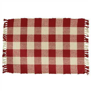 Red Check Yarn Placemat - Set of 4