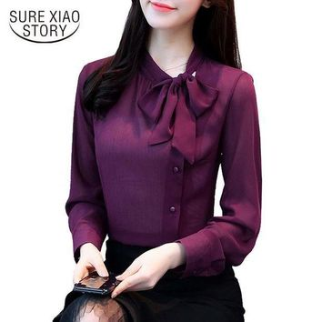 CREYLD1 2018 new bow neck women's clothing spring long-sleeved chiffon women blouse shirt solid purple formal women tops blusas D304 30