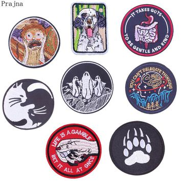 Prajna Parches Punk Rock Stranger Things Stalker Hand Patch Penguin Embroidery Iron On Patches For Clothes Sticker Black Patch