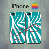 Best Friends Teal Zebra Infinity iPhone case - Personalized iPhone 4 or iPhone 5 Case, Two Case Set