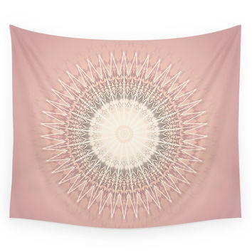 Society6 Rose Mandala Wall Tapestry