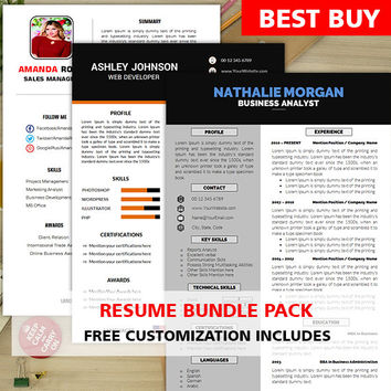 Resume Bundle Pack | Instant Download | Mac & PC | Free Cover Letter Template | Resume Template Word | Clean and Simple | Professional CV