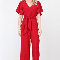 Ruffle Sleeve Wide Leg Tie Front Jumpsuit {Red}