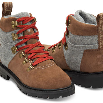 RAWHIDE SUEDE AND GREY WOOL WOMEN'S WATERPROOF SUMMIT BOOTS