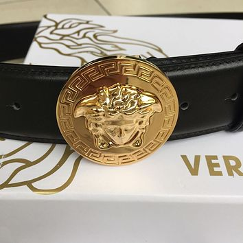 /New Versace Round Gold Medusa Buckle Black Leather Men's Belt 100/40 fit 35-36@