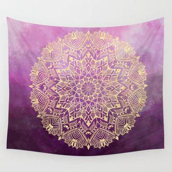 Gold mandala on maroon ink Wall Tapestry by Nayers