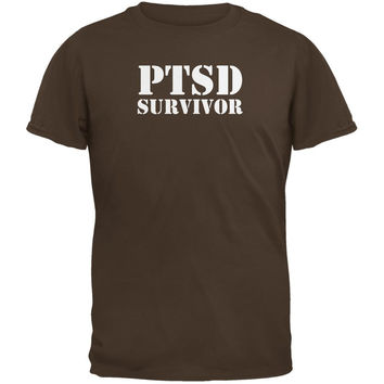 PTSD Survivor Brown Adult T-Shirt
