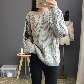 Round-neck Pullover Winter Strong Character Korean Knit Sweater [22395486234]