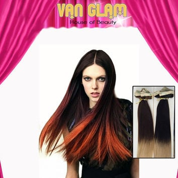 Burnt Ombre Tape In Hair Extensions 100% Cuticle Remy 22""