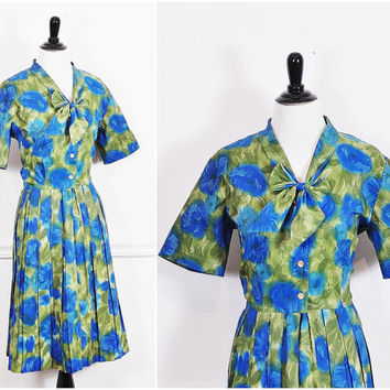 blue and green watercolor floral print kitten bow pleated garden party day bombsgell pinup VLV dress vintage 1950s L