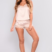 Kyra Satin PJ Shorts - Nude