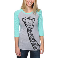 A-Lab Girls Necking Ice Green & Grey Baseball Tee Shirt at Zumiez : PDP
