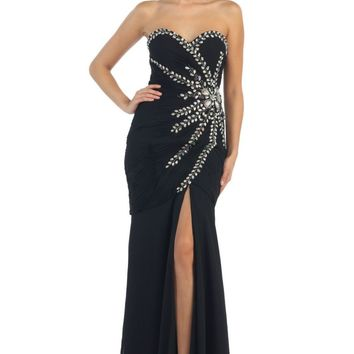 Prom Long Strapless Sweetheart Sequins Chiffon Ruched High Slit Formal Dress