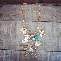 Bling Starfish Necklace-Gold