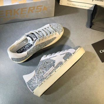 Golden Goose Ggdb Hi Star Sneakers With Glitter And White Star DCCK