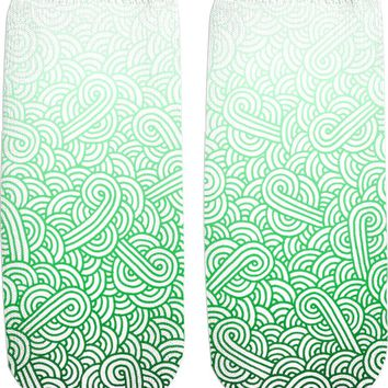 Gradient green and white swirls doodles Ankle Socks