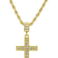 Iced Out Cross Micro Pendant with a 24 Inch 4mm Rope Chain (Goldtone)