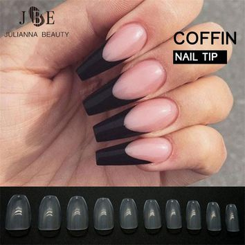 500pcs New Design Coffin Nail Tips Long Clear False Nails ABS Artificial Full Cover Fake Nails DIY Acrylic Nail Art Tips 10 Size
