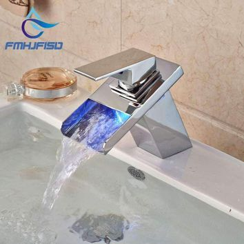 LED Waterfall Spout Chrome Brass Bathroom Basin Faucet Square Vanity Sink Mixer Tap