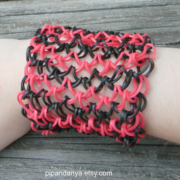 Loom Band Bracelet, Dragon Scale Bracelet, Rainbow Loom Bracelet, Red and Black Chainmaille