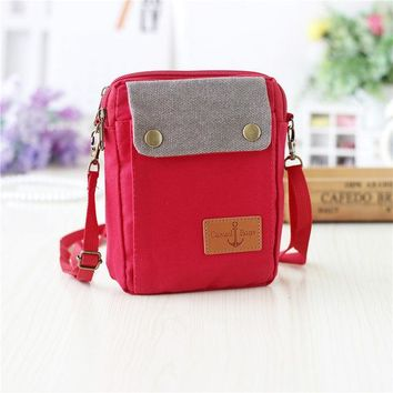 School Backpack Canvas plaid children school bags kids travel messenger crossbody money pouches phone bags for kindergaten baby girls boys AT_48_3
