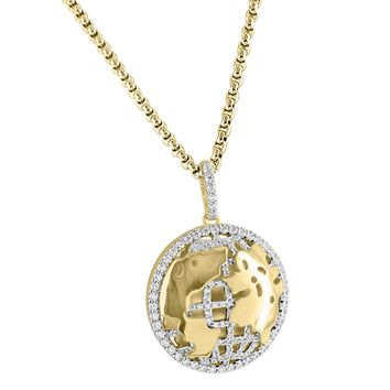 """Sterling Silver World Globe Pendant 14k Gold Finish Iced Out Free 24"""" BoxChain"""