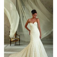 Angelina Faccenda Couture Chantilly Lace Wedding Dress Strapless Sweetheart Fit and Flare