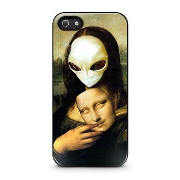 mona lisa alien iphone 5 5s se case cover  number 1