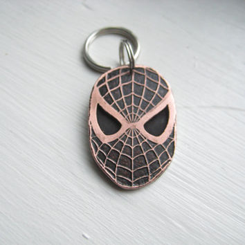 SPIDER-MAN dog pet tag id. Copper soldered nickel silver custom stamped dog tag. Super Hero
