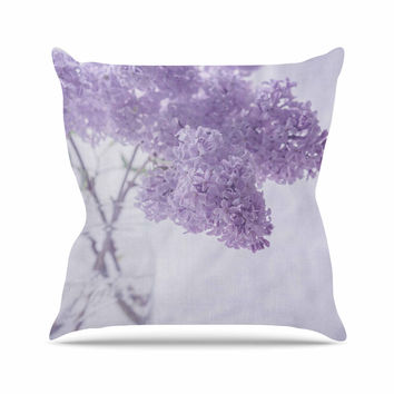 "Suzanne Harford ""Lilacs"" Purple Floral Outdoor Throw Pillow"