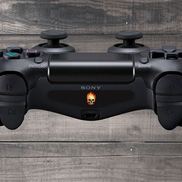 Flaming Skull Playstation 4 (PS4) Dual Shock Controller Light Bar Decal (Pack of 3)